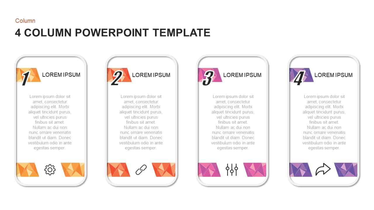 4 Column PowerPoint Template and Keynote