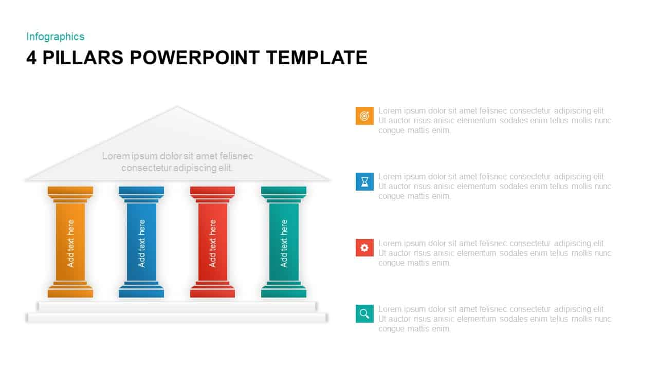 4 pillars powerpoint template  u0026 keynote