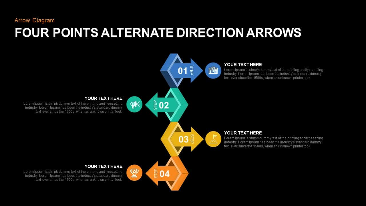 4 Points Alternate Direction Arrows PowerPoint Template