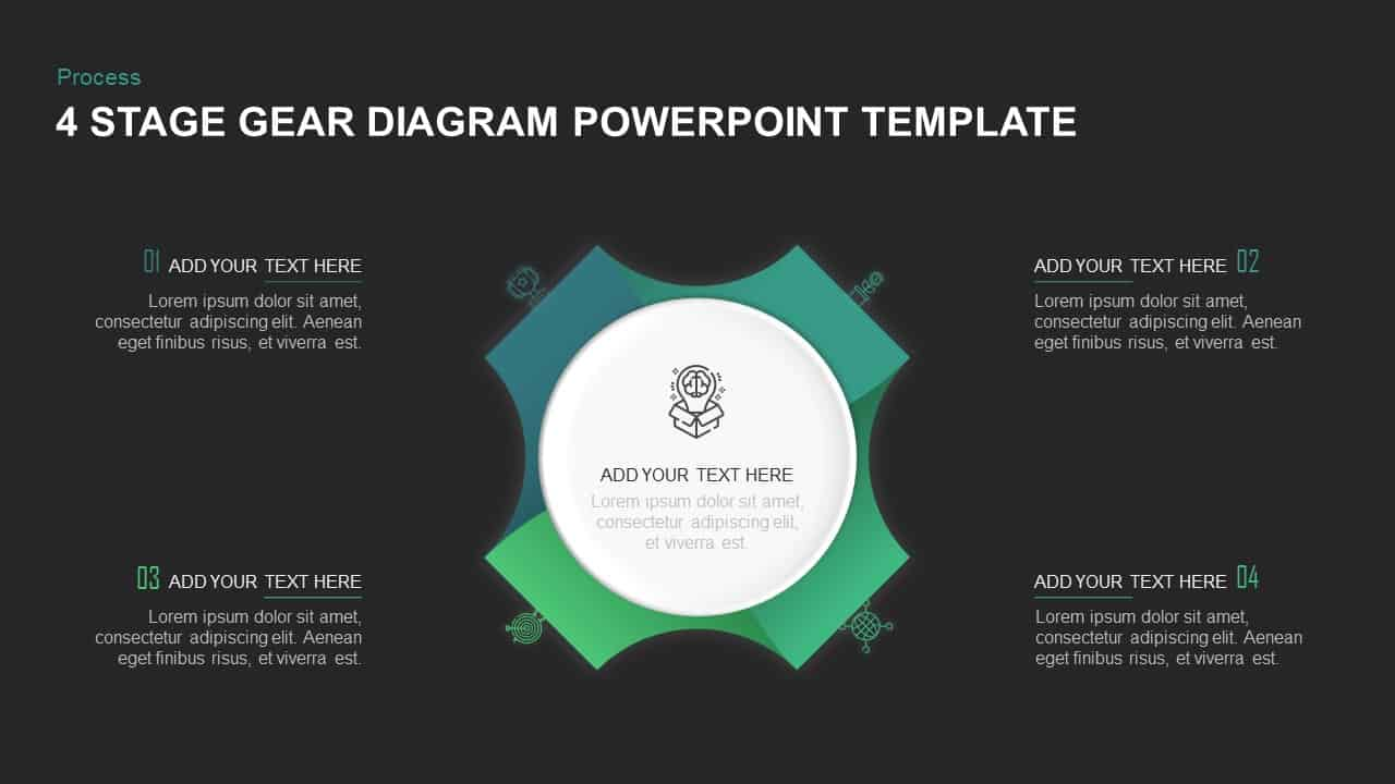4 Stage Gear PowerPoint Template