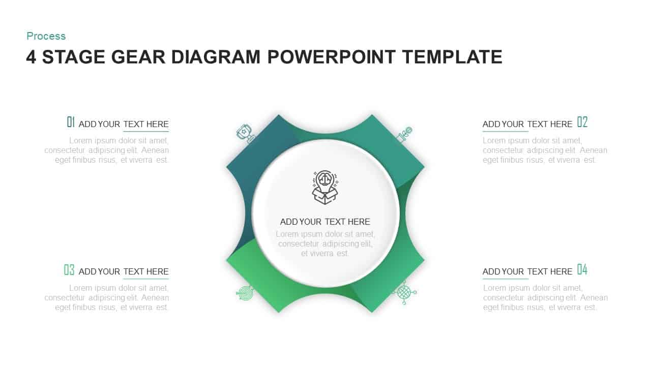 4 Step Process Gear PowerPoint Diagram