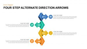 4 Points Alternate Direction Arrows PowerPoint Template & Keynote