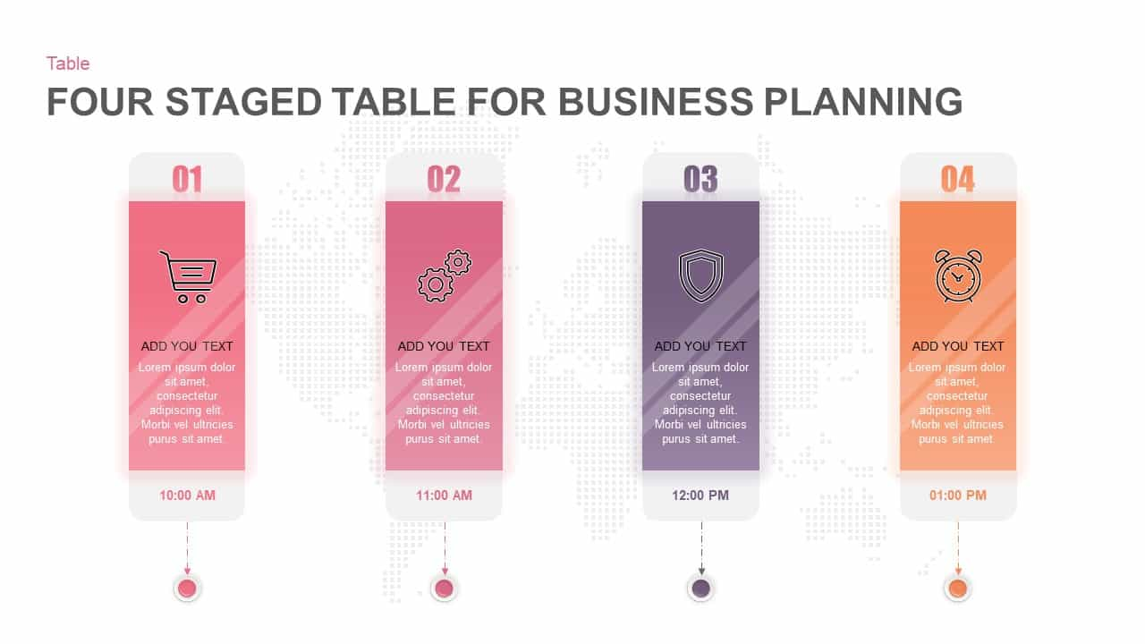 4 Steps Business Plan Table PowerPoint Template