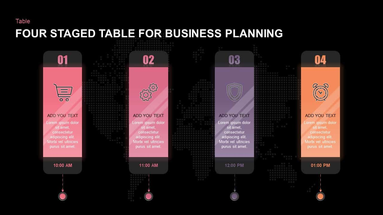 4 Steps Business Plan Table Template for PowerPoint