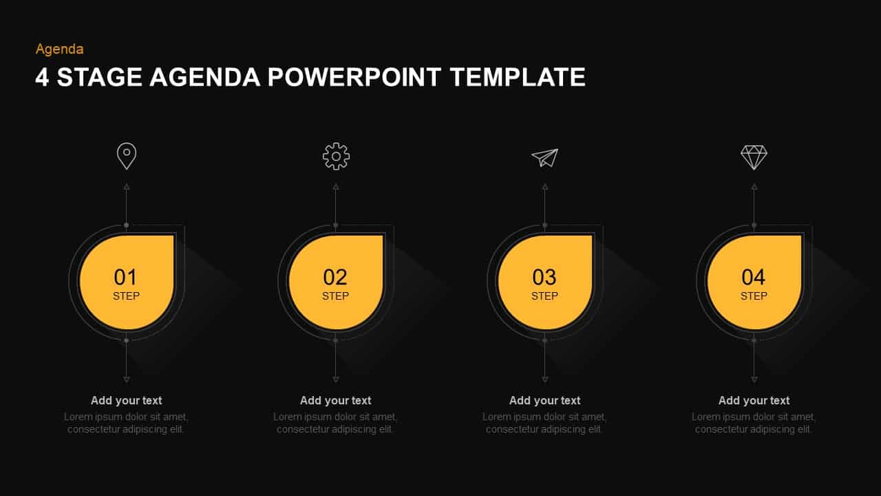 4 steps agenda template for PowerPoint