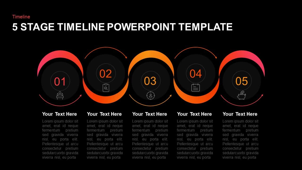 5 Stages Timeline Template for PowerPoint and Keynote