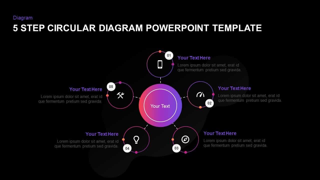 5 Step Creative Circular Diagram Design PowerPoint Template
