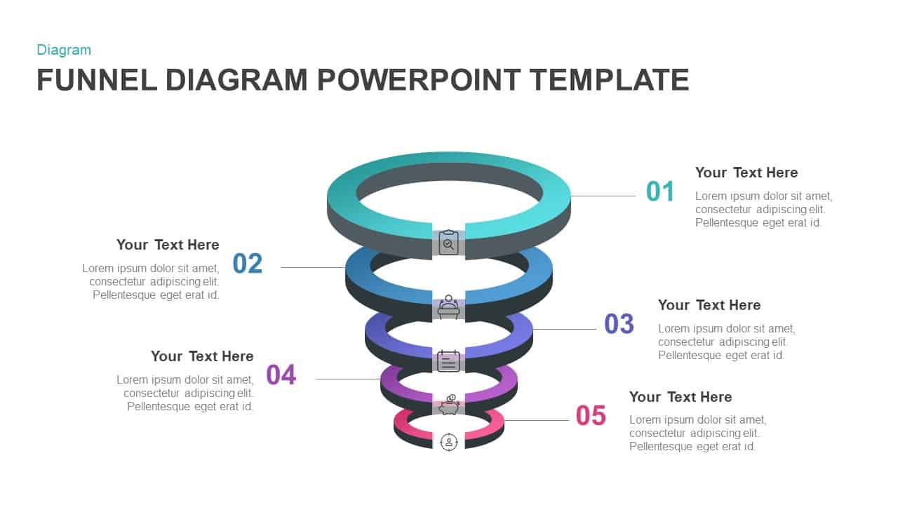 5 Step Ring Diagram Funnel PowerPoint Template