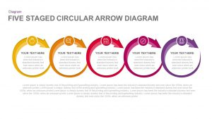5 Stages Circular Arrow Diagram Template for PowerPoint & Keynote