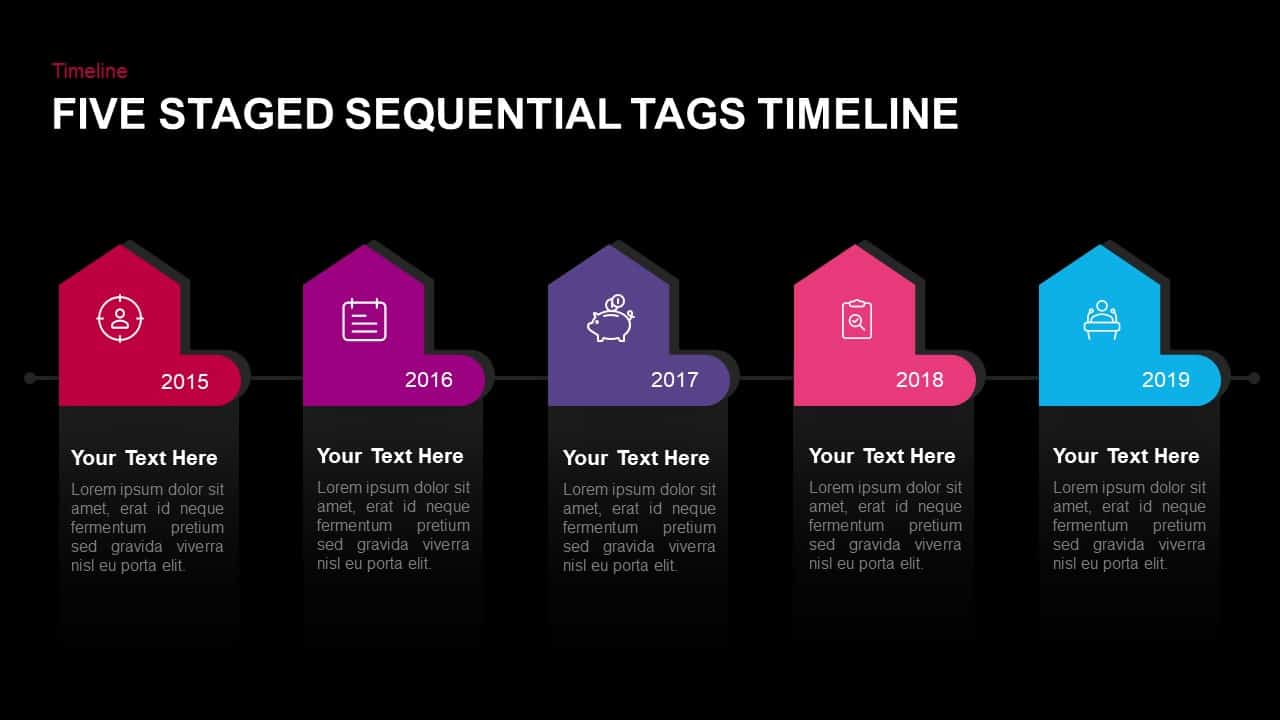 5 Steps Sequential Tags Timeline Template for PowerPoint