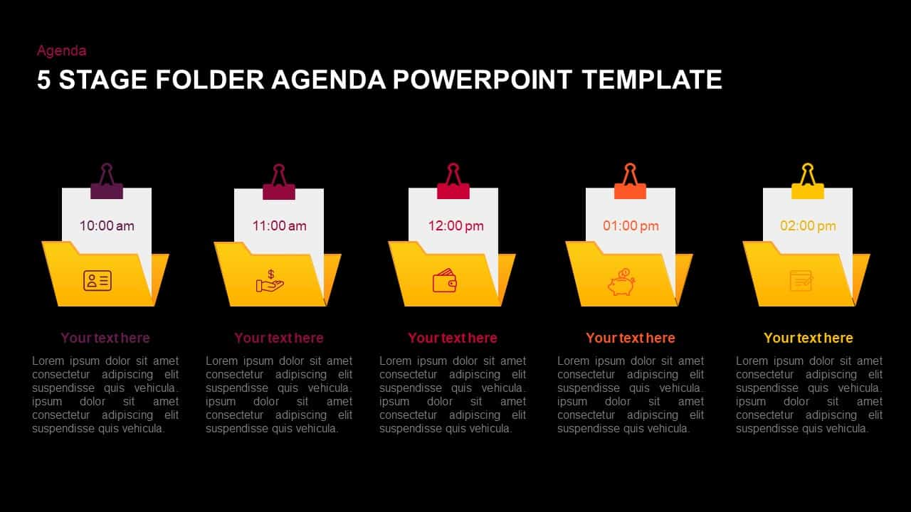 5 stage folder agenda template for powerpoint