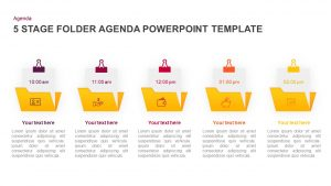 5 Step Folder Agenda PowerPoint Template & Keynote Diagram