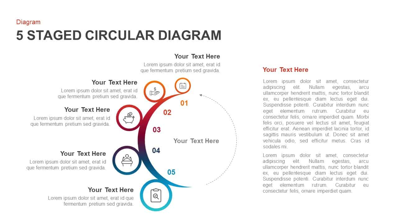 5 steps circular diagram PowerPoint template