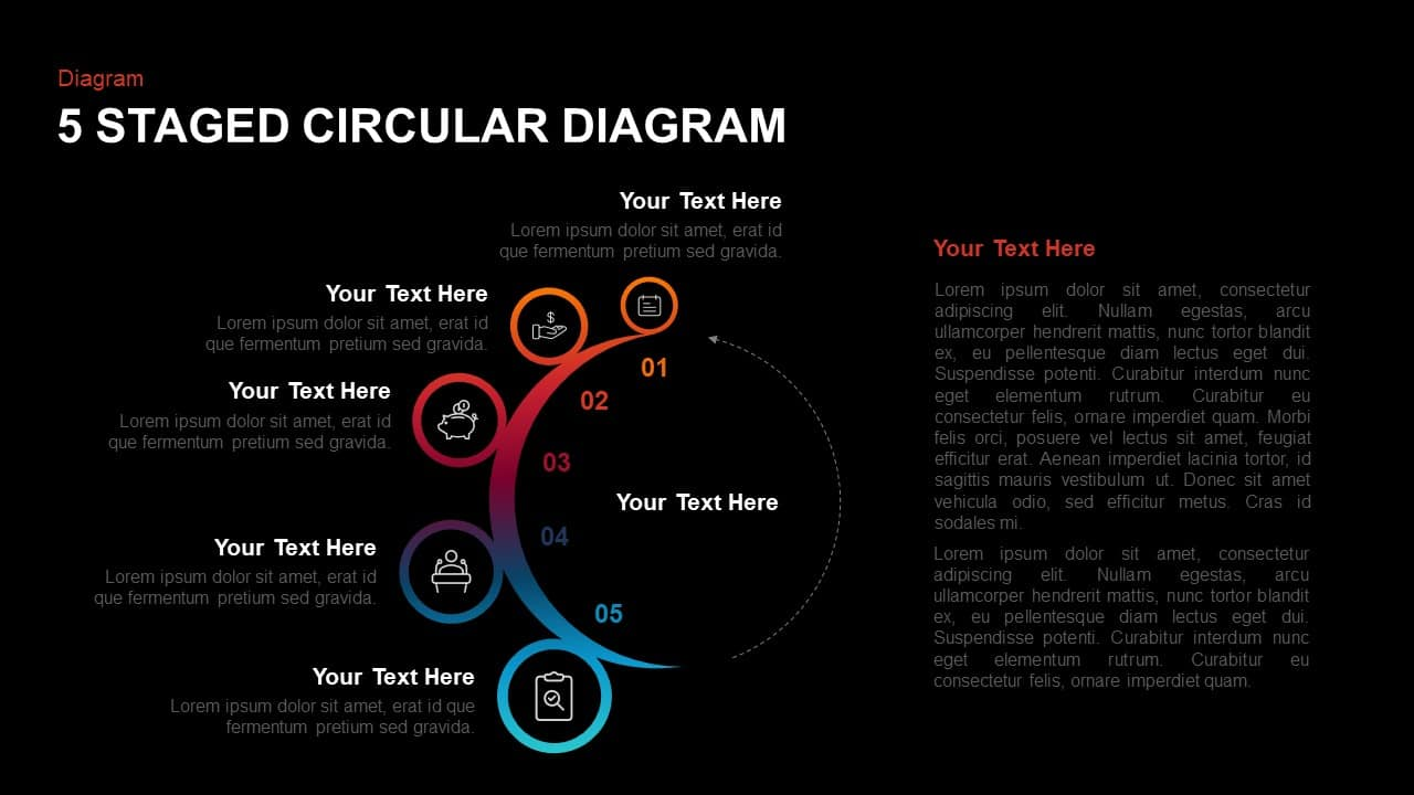 5 steps circular diagram template for PowerPoint