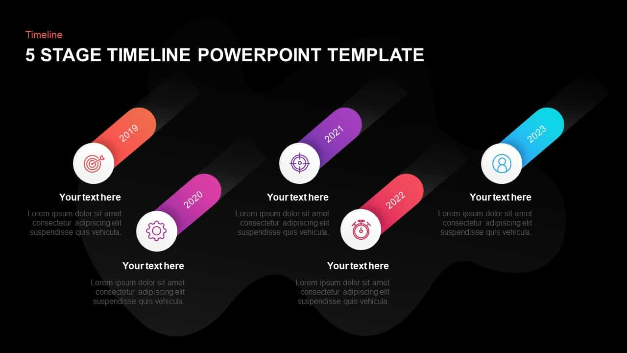 5 steps timeline template for PowerPoint & Keynote