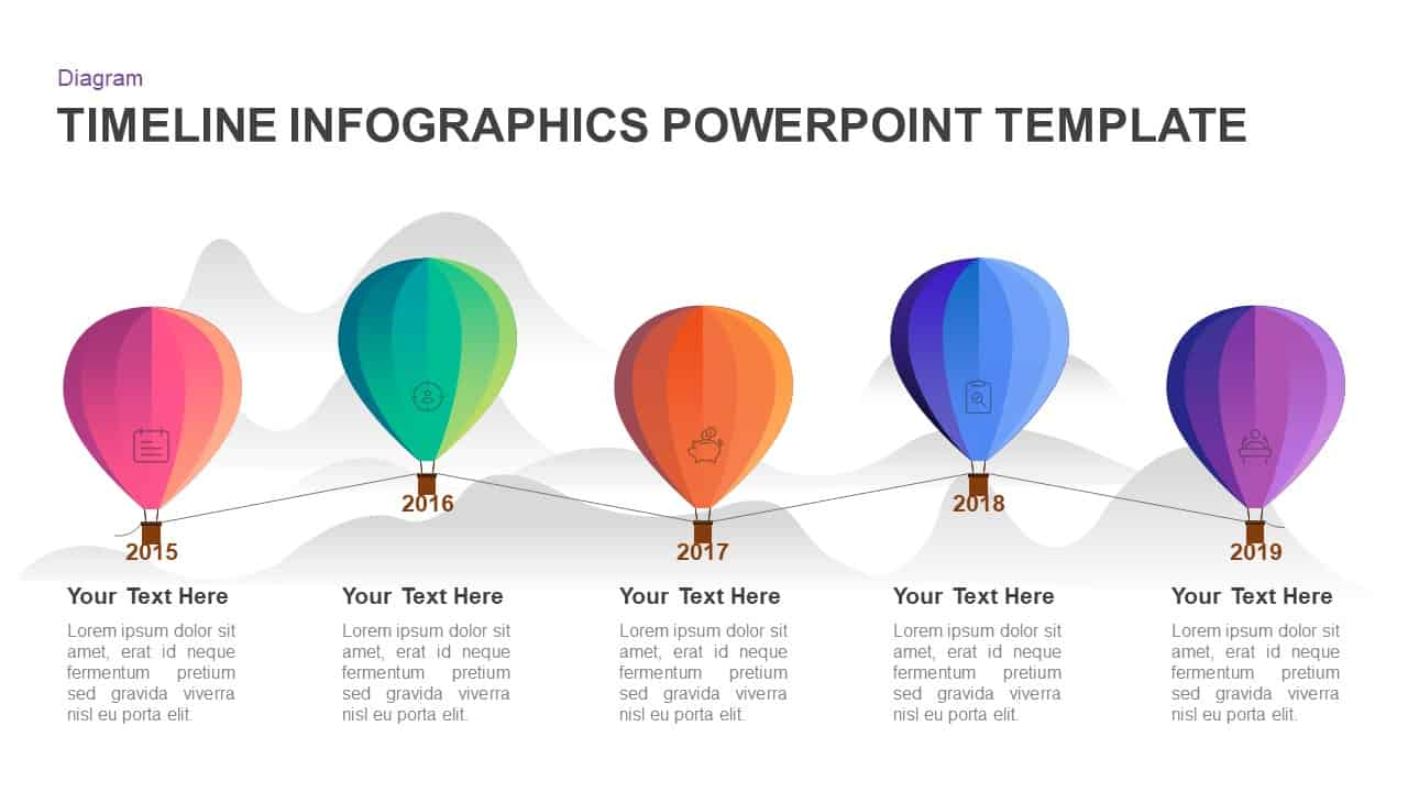 5 year timeline balloon PowerPoint template