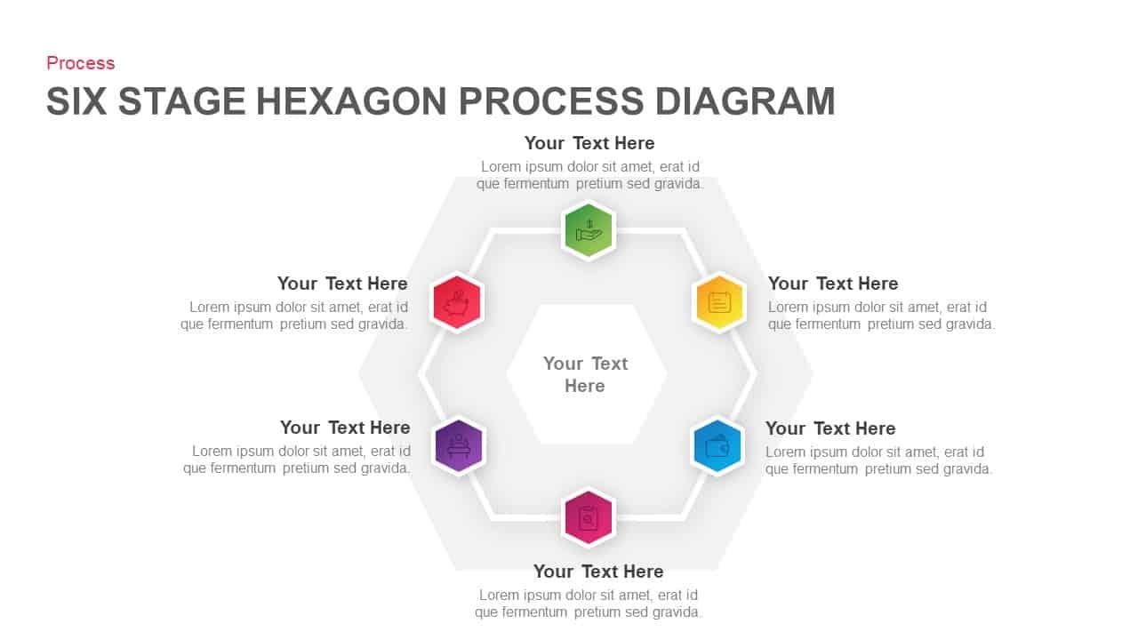 6 Step Hexagon Process Diagram PowerPoint Template
