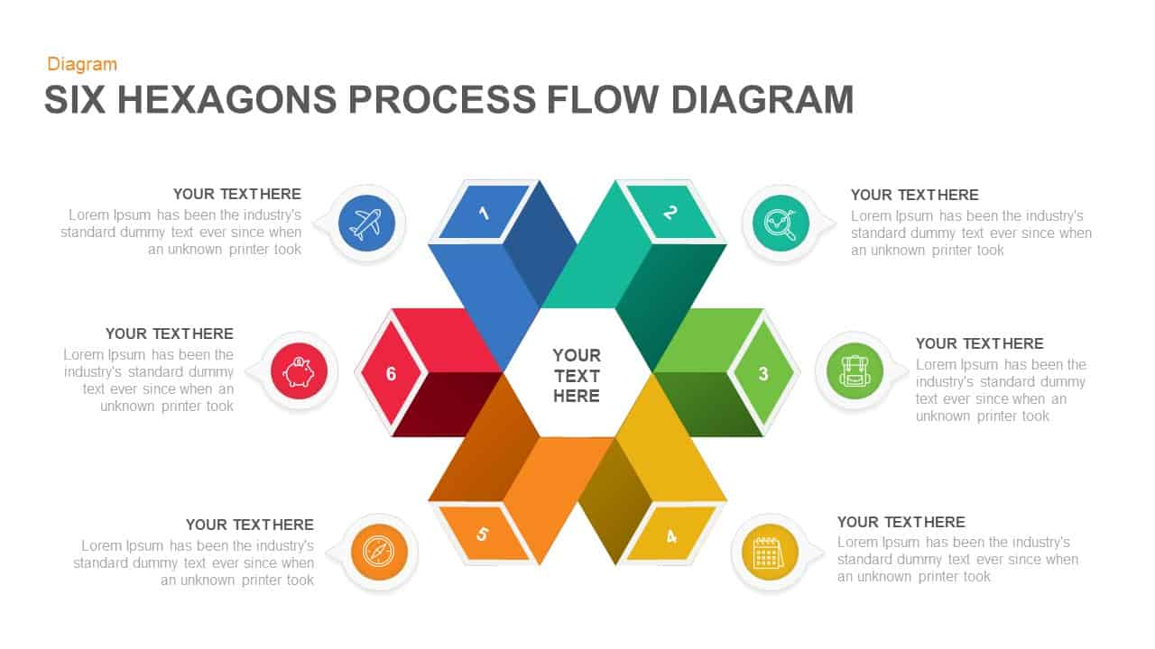 6 Step Process Flow Hexagon Diagram PowerPoint Template