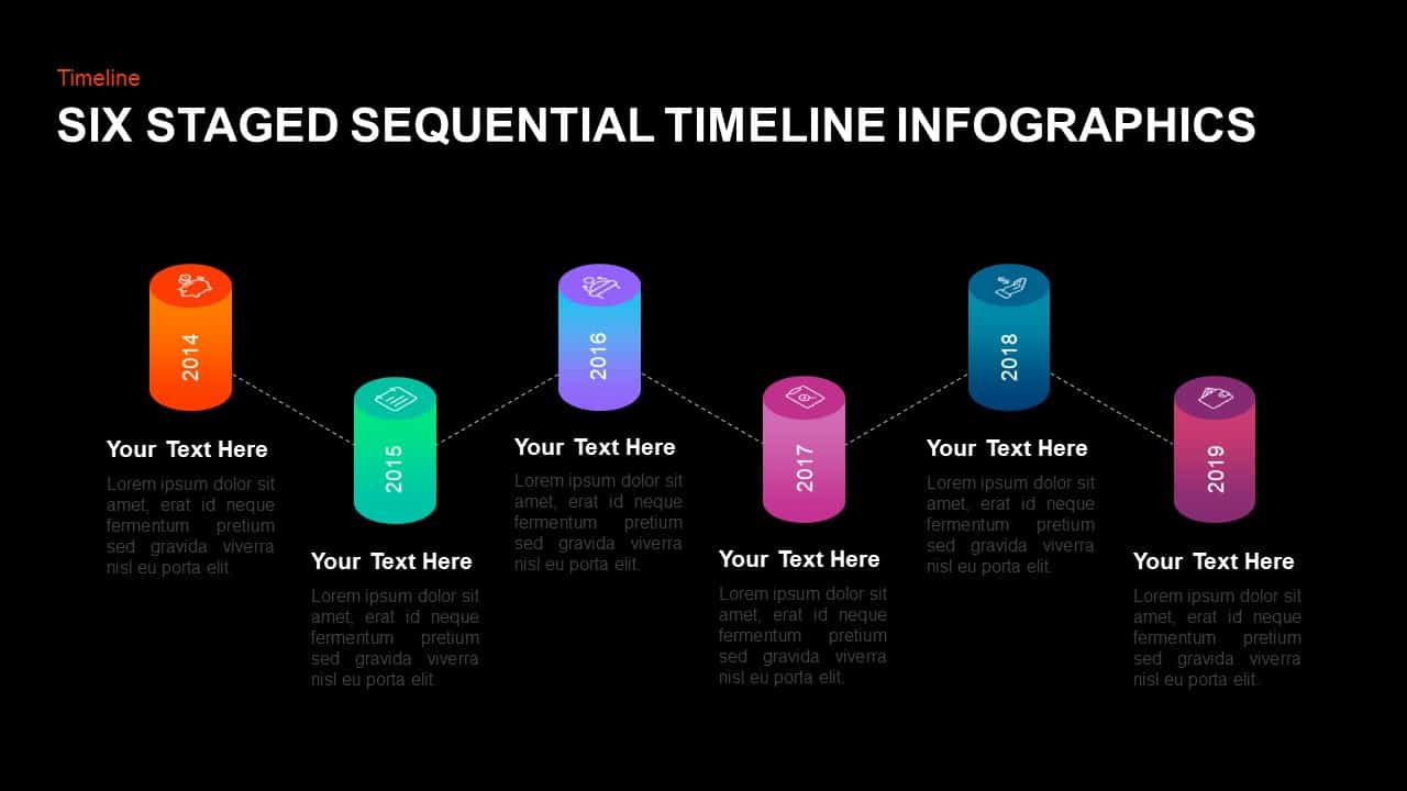 6 Step Sequential Timeline PowerPoint Template