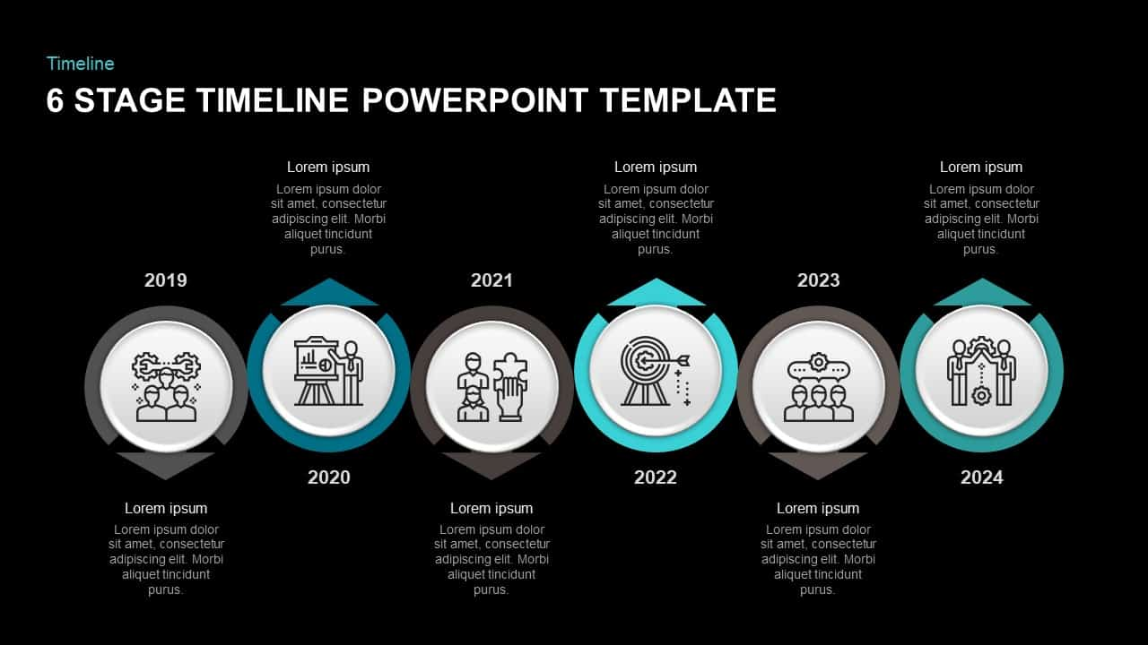 6 Step Timeline Template for PowerPoint & Keynote