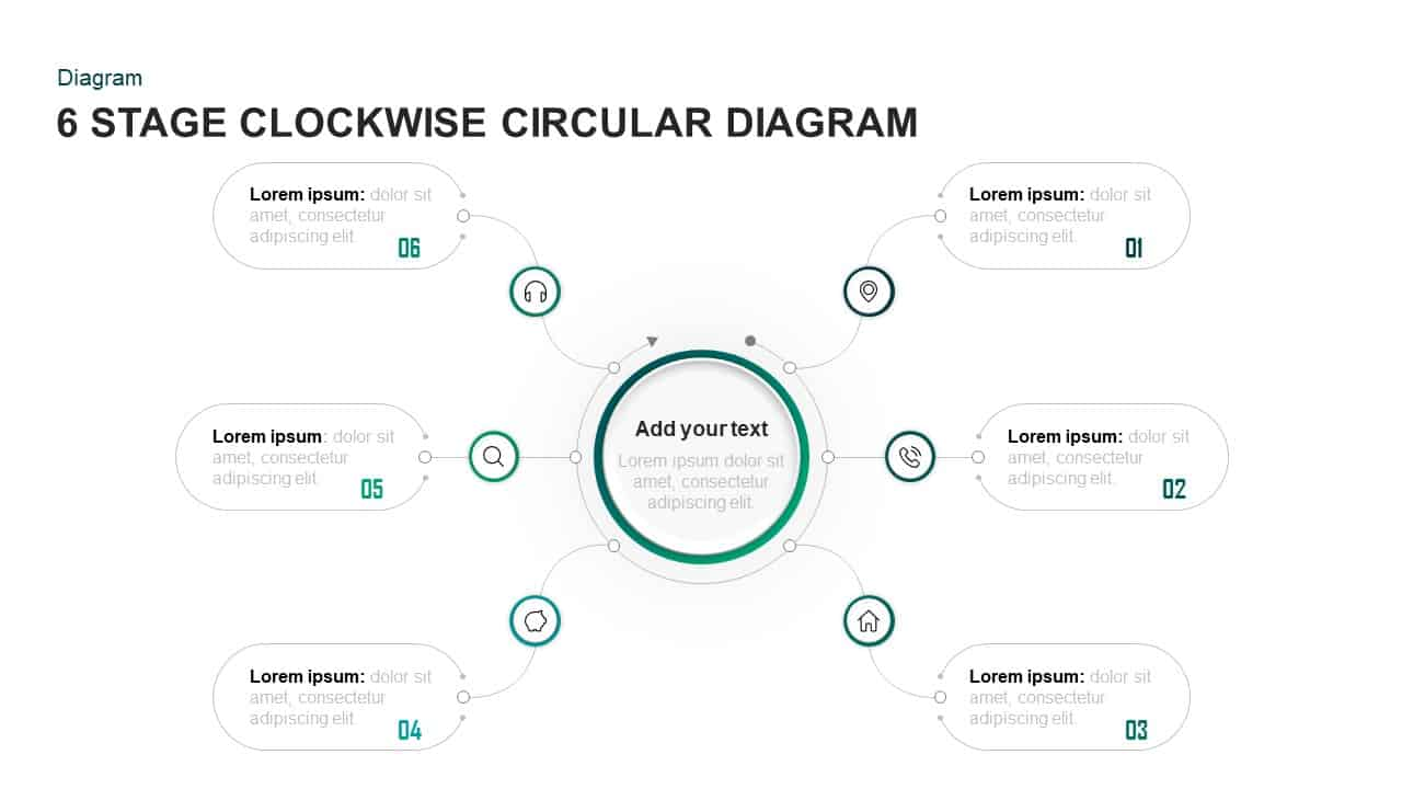 6 Steps Clockwise Circular Diagram PowerPoint Template