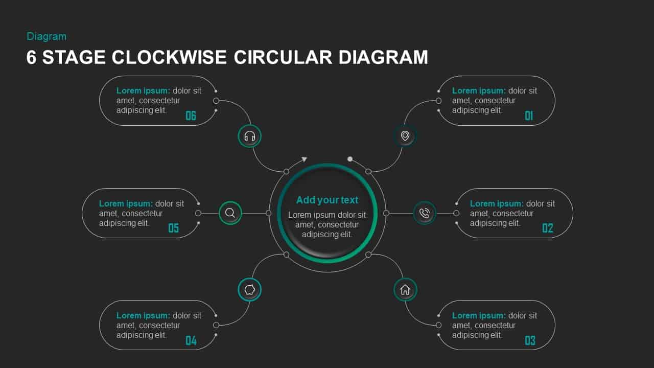 6 Steps Clockwise Circular Diagram Template for PowerPoint