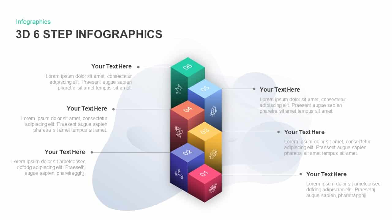 6 step infographic 3D PowerPoint template