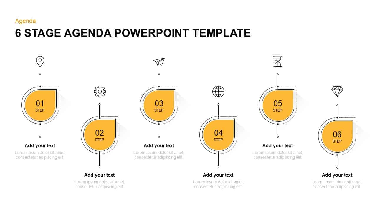 6 steps agenda PowerPoint template