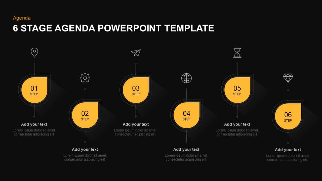 6 steps agenda template for PowerPoint and keynote