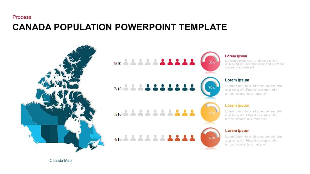 Canada map population PowerPoint template