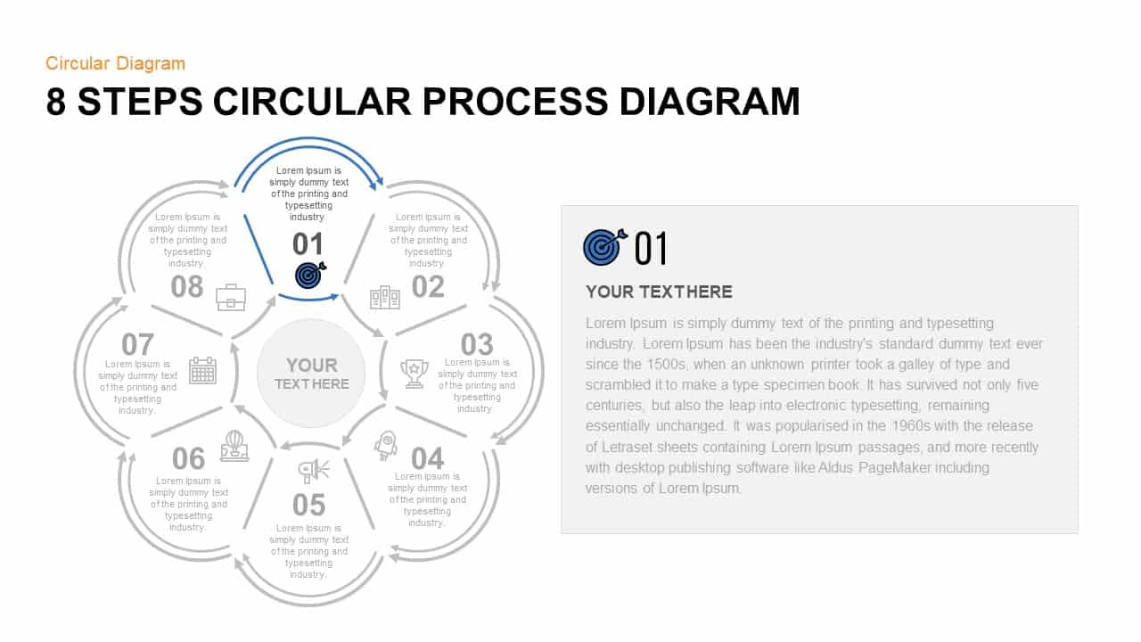 8 Step Circular Process Diagram PowerPoint Template Step 1