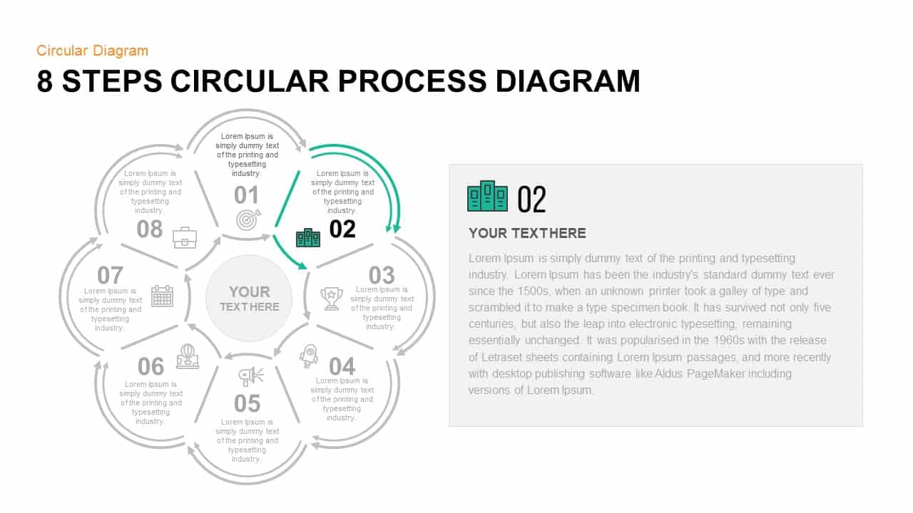 8 Step Circular Process Diagram PowerPoint Template Step 2