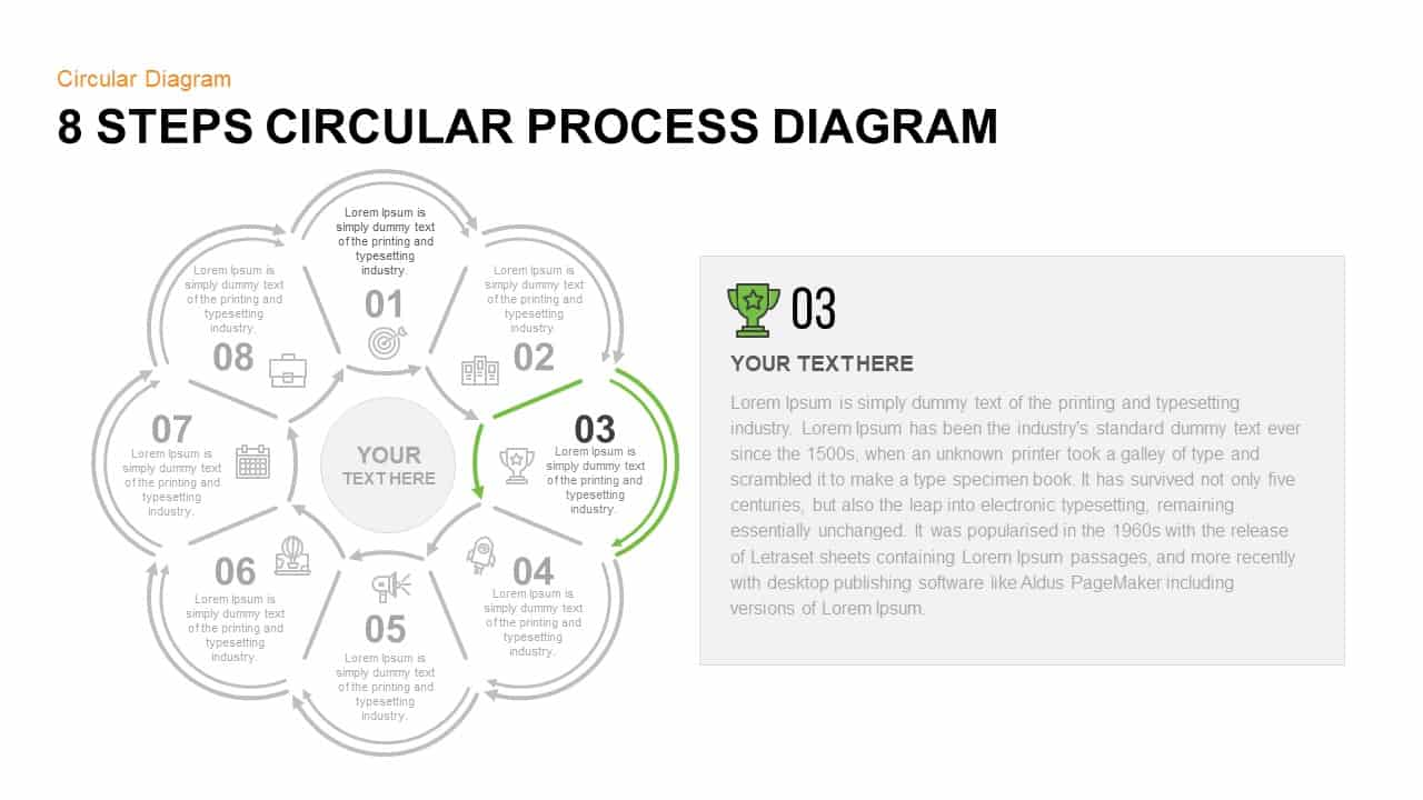 8 Step Circular Process Diagram PowerPoint Template