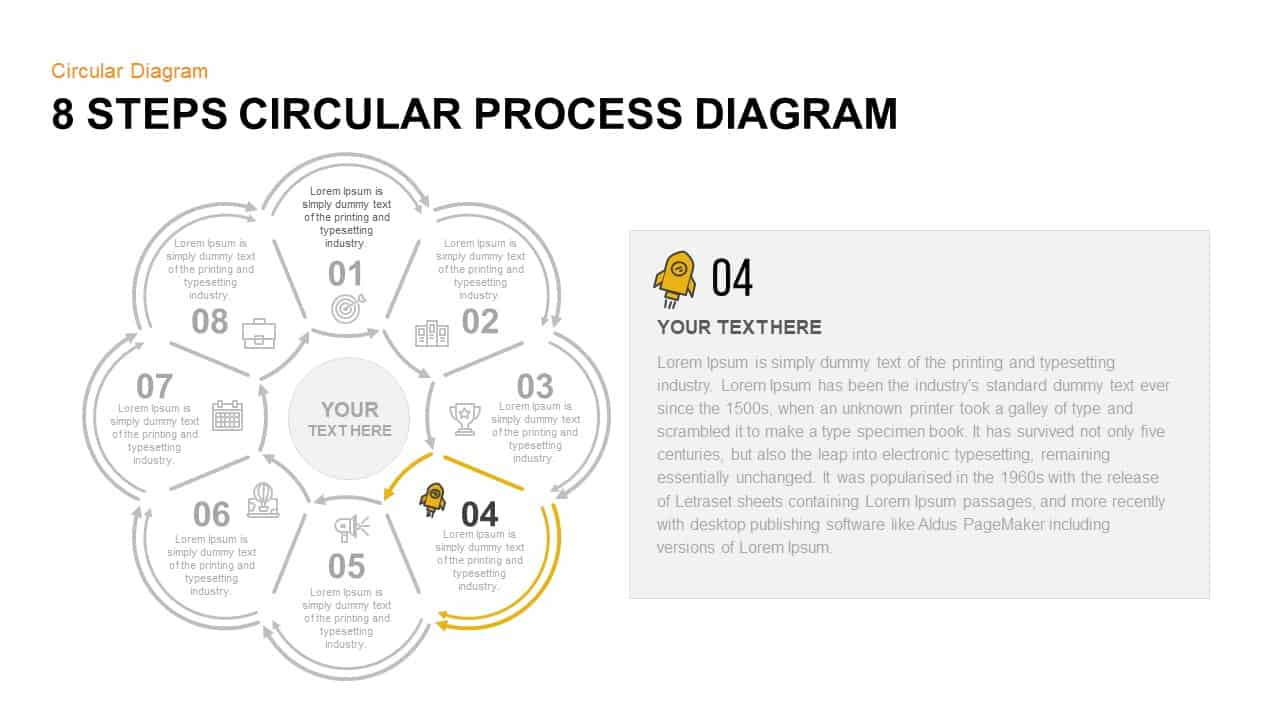 8 Step Circular Process Diagram PowerPoint Template Step 4