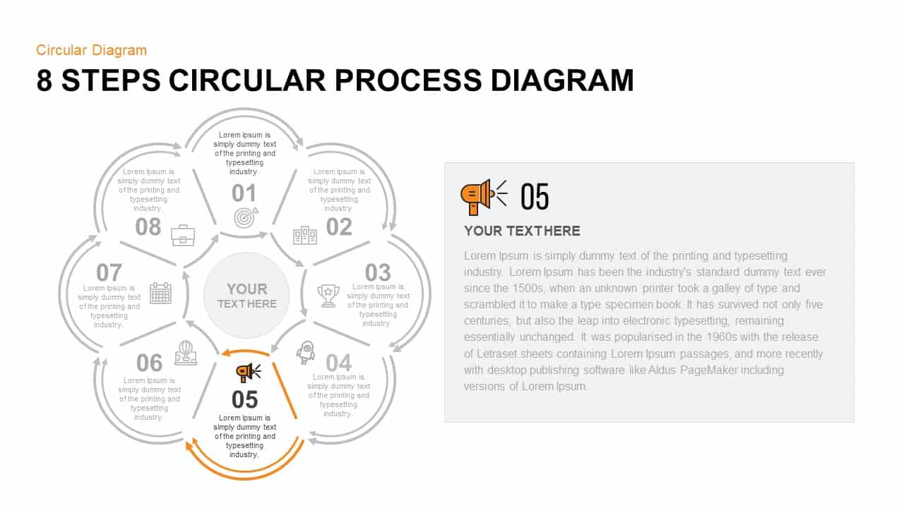 8 Step Circular Process Diagram PowerPoint Template Step 5