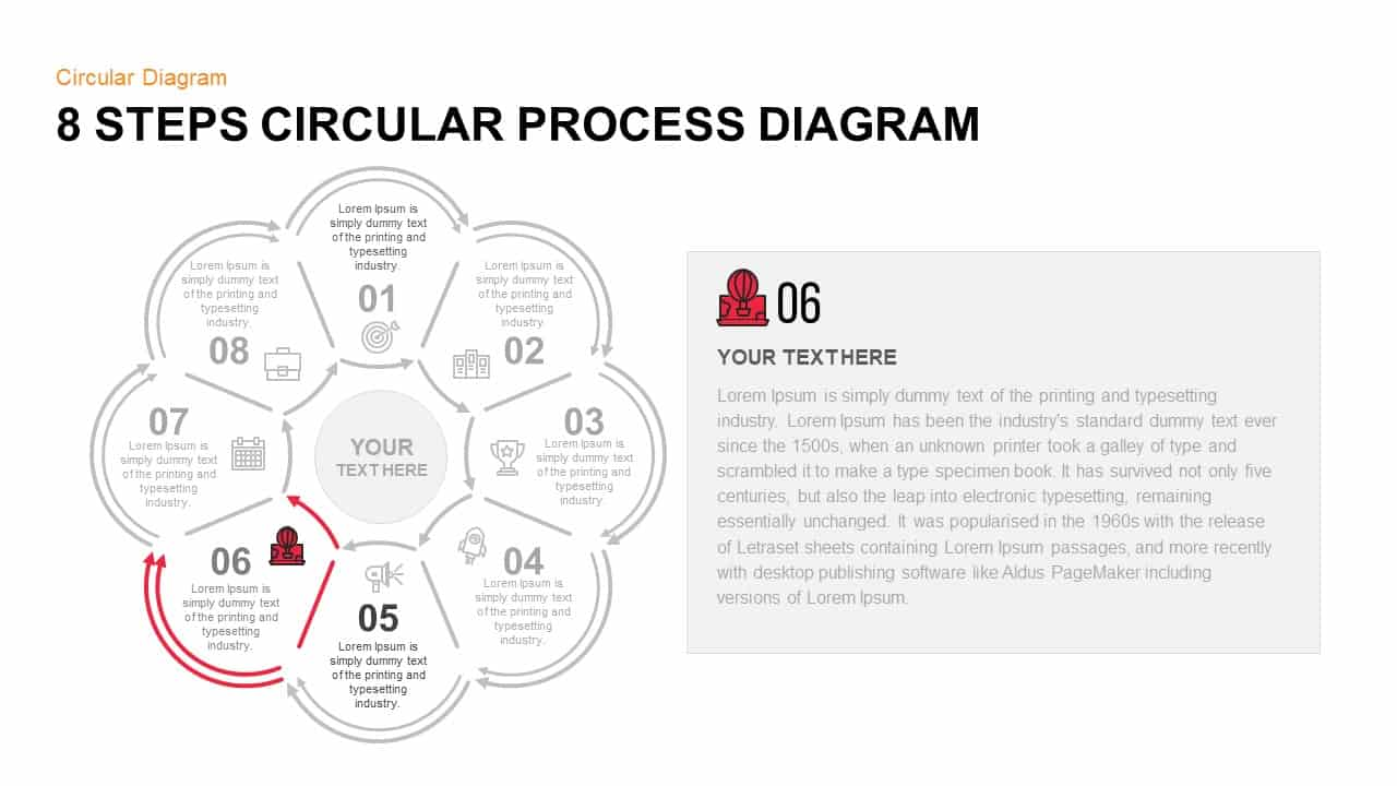 8 Step Circular Process Diagram PowerPoint Template Step 6