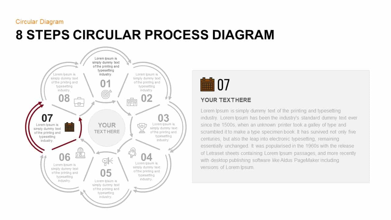 8 Step Circular Process Diagram PowerPoint Template Step 7
