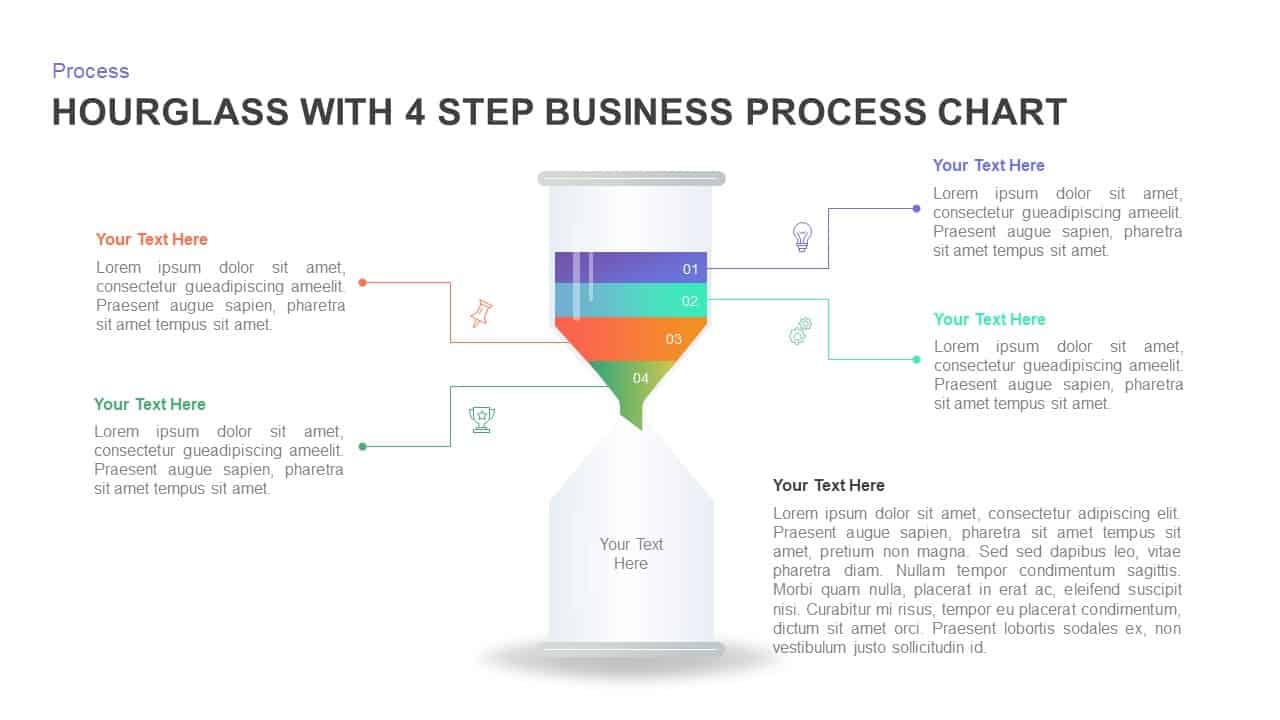 Hourglass with 4 Step Business Process Chart