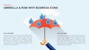 Umbrella PowerPoint Template with Raindrops