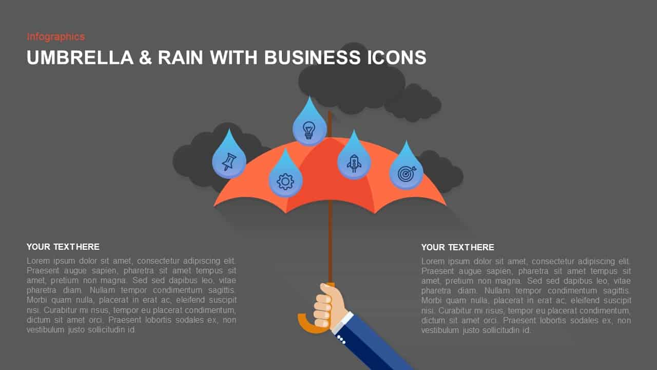 Umbrella Template for PowerPoint with Raindrops