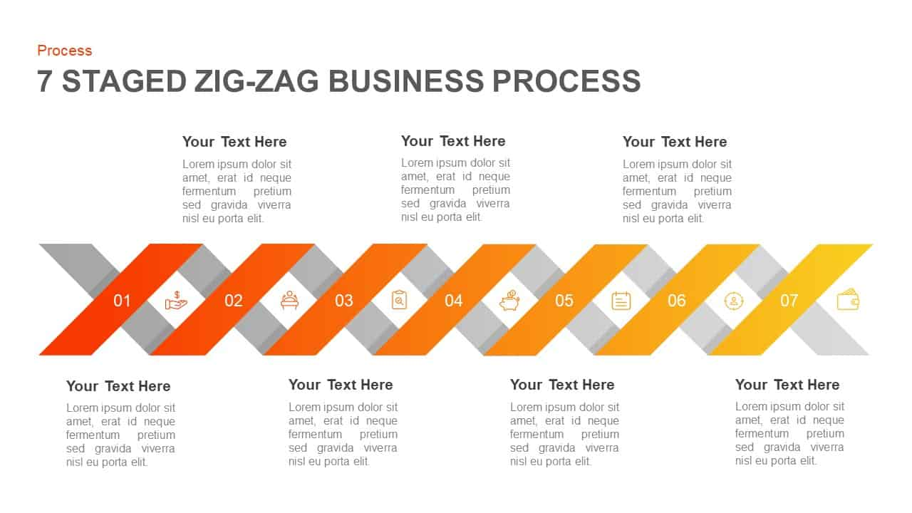 Zigzag Business Process PowerPoint Template