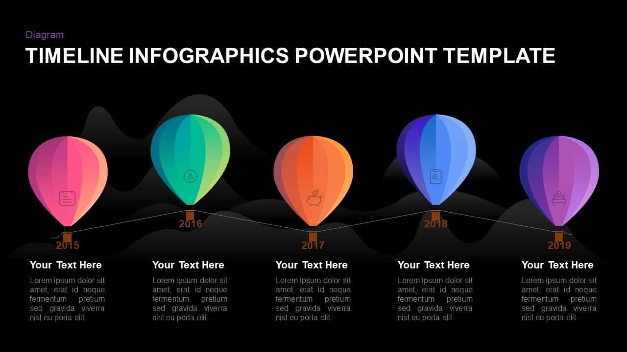 PowerPoint 5 year timeline balloon template