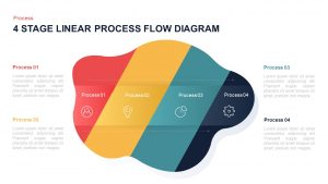 4 Stage Linear Process Flow Diagram PowerPoint Template & Keynote