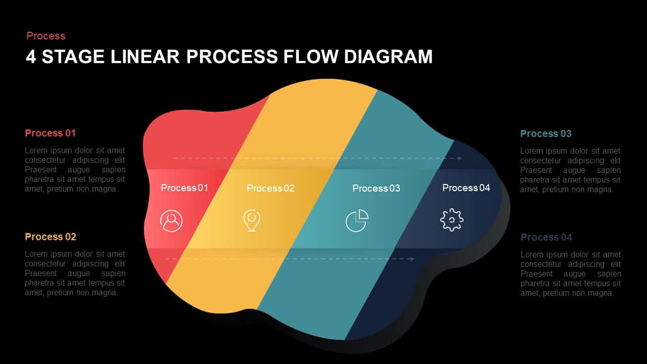 linear Process Flow Diagram Template for PowerPoint