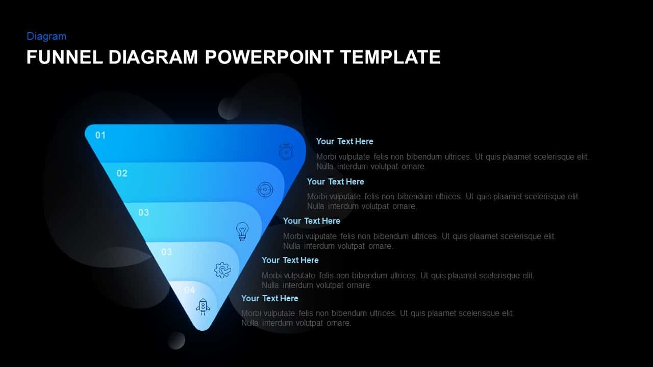5 Stage Funnel diagram template for PowerPoint
