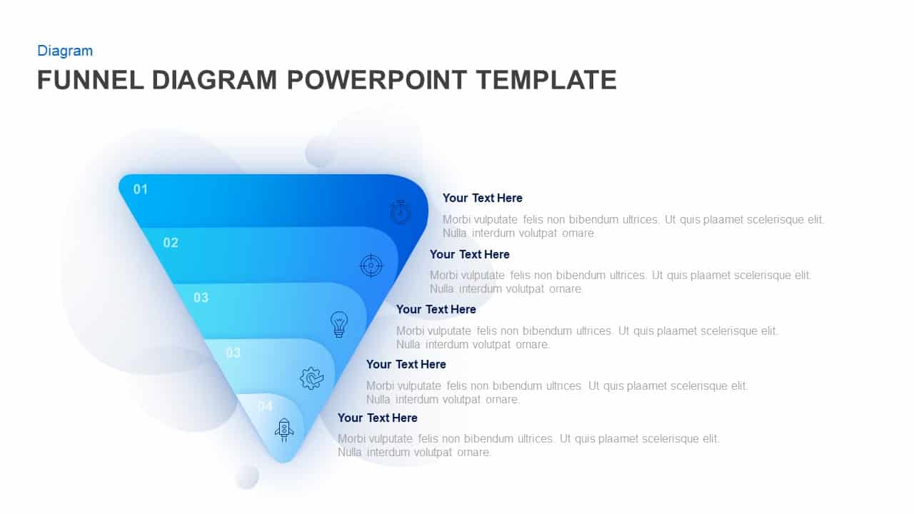 5 Step funnel diagram PowerPoint template