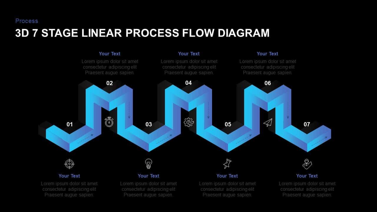 Linear 3d process flow diagram PowerPoint template