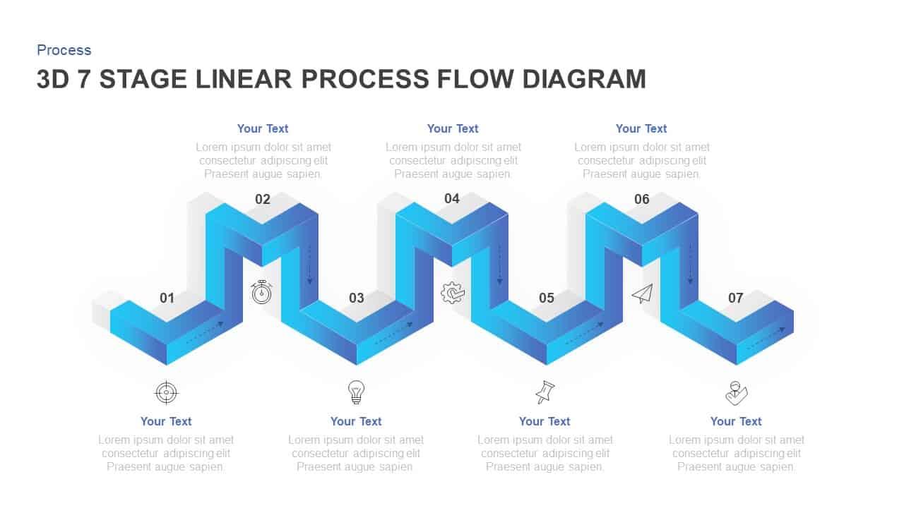 7 stages linear 3d process flow diagram for powerpoint \u0026 keynotelinear 3d process flow diagram for powerpoint