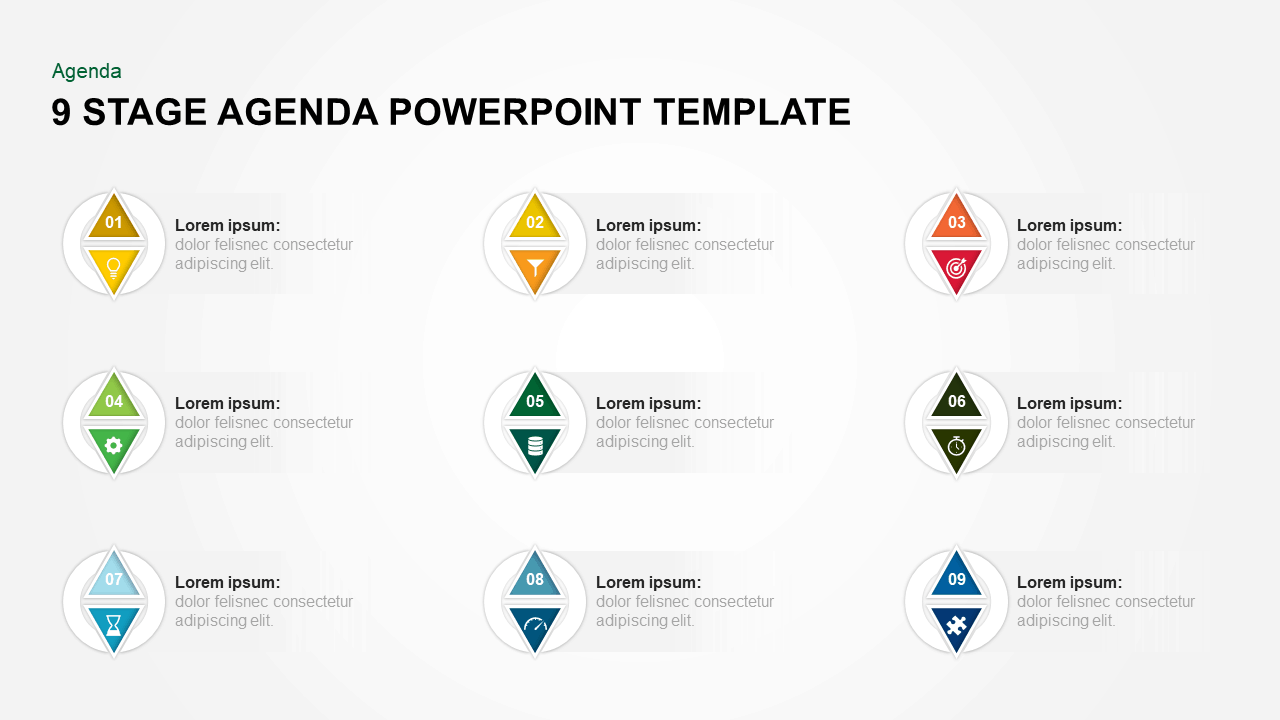 9 Steps Agenda PowerPoint Template