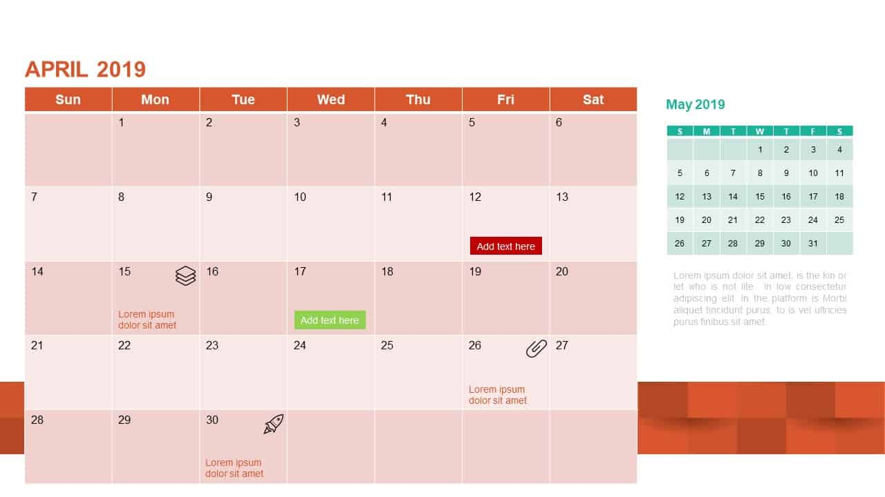 2019 Calendar PowerPoint Template April